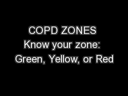 COPD ZONES Know your zone: Green, Yellow, or Red
