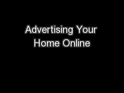 Advertising Your Home Online