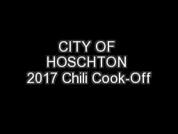 CITY OF HOSCHTON 2017 Chili Cook-Off