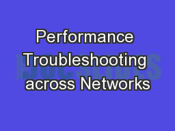 Performance Troubleshooting across Networks