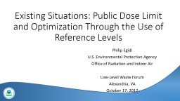 Existing Situations: Public Dose Limit and Optimization Through the Use of Reference Levels