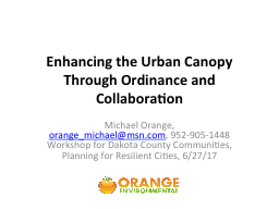 Enhancing the Urban Canopy Through Ordinance and Collaboration