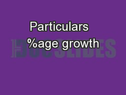 Particulars  %age growth