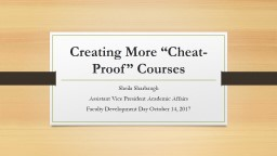 """Creating More """"Cheat-Proof"""" Courses"""