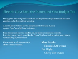 Electric Cars: Save the Planet and