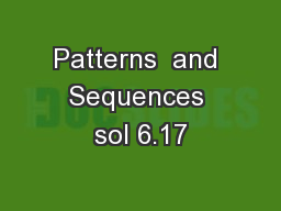Patterns  and Sequences sol 6.17
