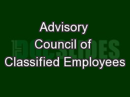 Advisory Council of Classified Employees