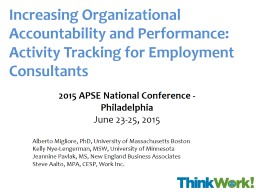 Increasing Organizational Accountability and Performance: Activity Tracking for Employment Consulta PowerPoint PPT Presentation