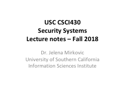 USC  CSCI430 Security  Systems