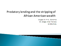 Predatory lending and the stripping of African American wealth