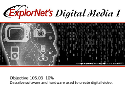 Objective  105.03  10% Describe software and hardware used to create digital video.