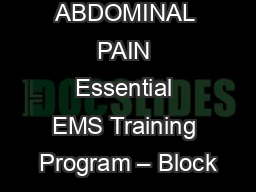 ABDOMINAL PAIN Essential EMS Training Program – Block