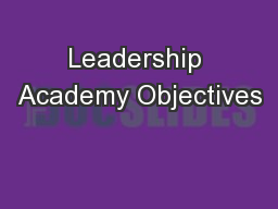 Leadership Academy Objectives
