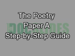 The Poetry Paper A Step-by-Step Guide