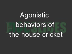 Agonistic  behaviors of the house cricket