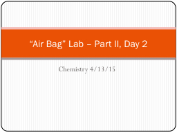 "Chemistry 4/13/15 ""Air Bag"" Lab – Part II, Day 2"