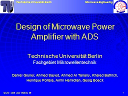 1 Design of Microwave Power Amplifier with ADS