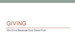 Giving We Give Because God Gave First