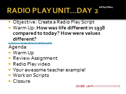 RADIO PLAY UNIT…DAY 2 Objective: Create a Radio Play Script