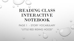 Reading Class Interactive Notebook