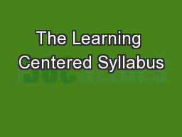 The Learning Centered Syllabus