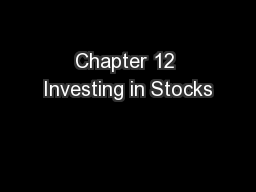 Chapter 12 Investing in Stocks