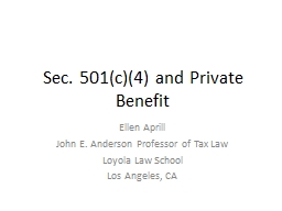 Sec. 501(c)(4) and Private Benefit