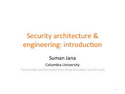 Security architecture & engineering: introduction