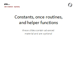 Constants, once routines, PowerPoint PPT Presentation