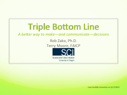 Triple Bottom Line A better way