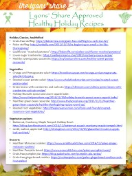 Holiday Classics,  healthified PowerPoint PPT Presentation