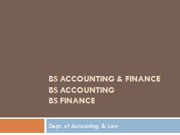BS Accounting & Finance PowerPoint PPT Presentation