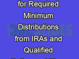 Key Concepts for Required Minimum Distributions from IRAs and Qualified Retirement Plans