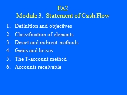 FA2 Module 3.   Statement of Cash Flow PowerPoint Presentation, PPT - DocSlides