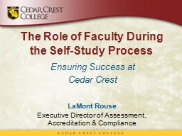 The Role of Faculty During the