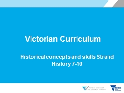 Victorian Curriculum Historical concepts and skills