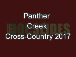 Panther Creek Cross-Country 2017