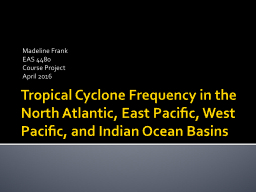 Tropical Cyclone Frequency in the North Atlantic, East Pacific, West Pacific, and Indian Ocean Basi