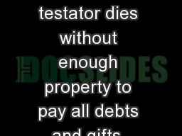 Abatement Issue When testator dies without enough property to pay all debts and gifts, which gifts