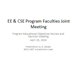 EE & CSE Program Faculties Joint Meeting