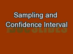 Sampling and Confidence Interval