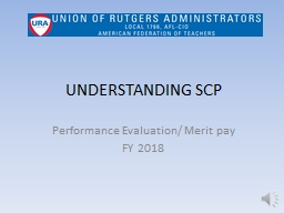 UNDERSTANDING SCP Performance Evaluation/ Merit pay