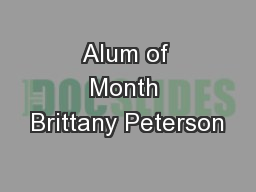 Alum of Month Brittany Peterson