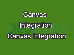 Canvas  Integration Canvas Integration
