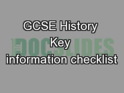 GCSE History Key information checklist