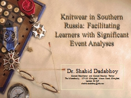 Knitwear  in Southern Russia: Facilitating Learners with Significant Event Analyses