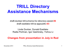 November 2013 TRILL Directory Assist Mechanisms PowerPoint PPT Presentation