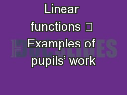 Linear functions  Examples of pupils' work