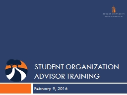 Student Organization Advisor training