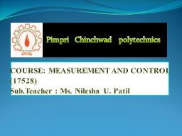 COURSE:  MEASUREMENT AND CONTROL
